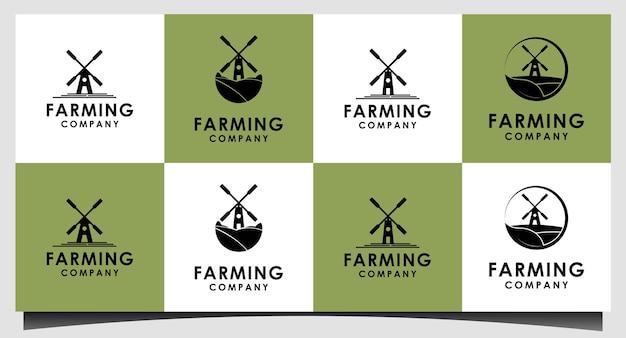 Mulino a vento fienile fattoria campo natura paesaggio logo design ispirazione
