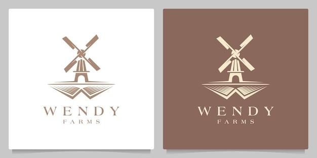 Mulino a vento fattoria giardino villaggio retrò vintage paesaggio logo design illustrazione