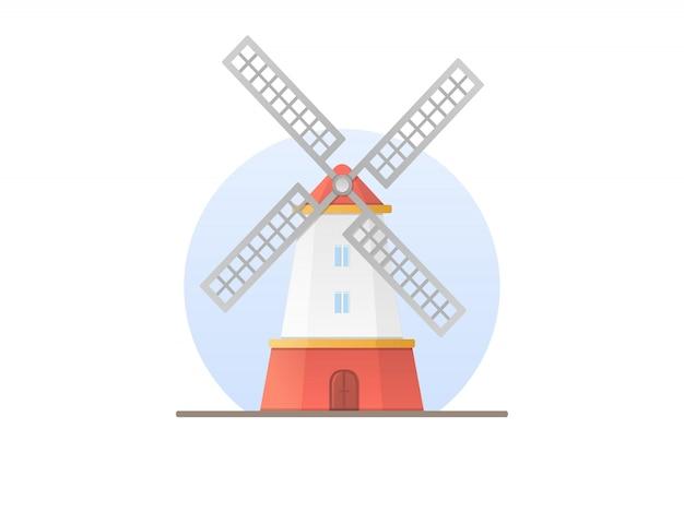 Mulino a vento in stile piatto