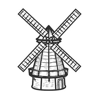 Illustrazione del mulino a vento sul fondo bianco del fondo. elementi per menu ristorante, poster, emblema, segno.