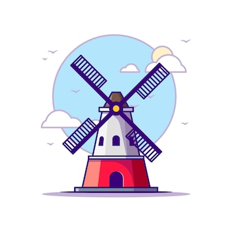 Illustrazioni di mulino a vento. punti di riferimento concetto bianco isolato. stile cartone animato piatto