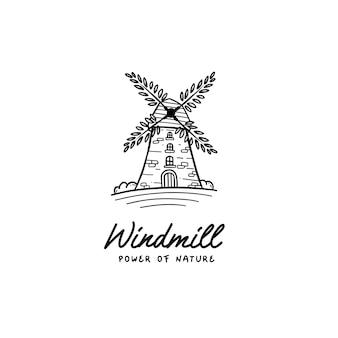 Il potere del mulino a vento dell'icona del logo della natura che costruisce il punto di riferimento con l'elica delle foglie