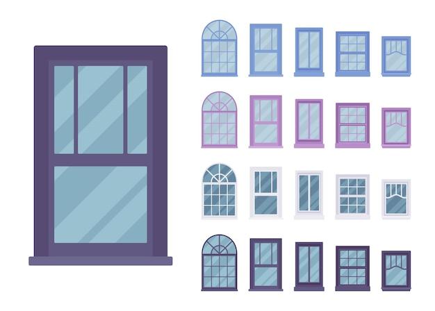 Finestra per edificio munita di vetro in un telaio