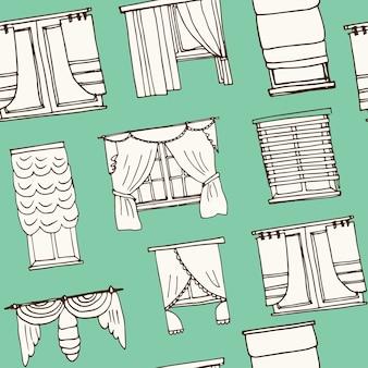 Reticolo senza giunte di doodle disegnato a mano di tende della finestra