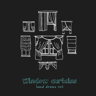 Insieme di doodle disegnato a mano di tende della finestra