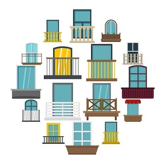 Icone delle forme di finestra messe nello stile piano