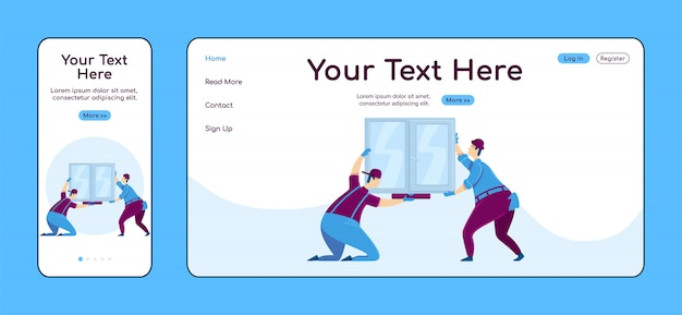 Modello di colore adattivo della pagina di destinazione dell'installazione della finestra. layout home page mobile e pc dei lavoratori manuali. ui del sito web di una pagina di miglioramento della casa home page riparazioni multipiattaforma