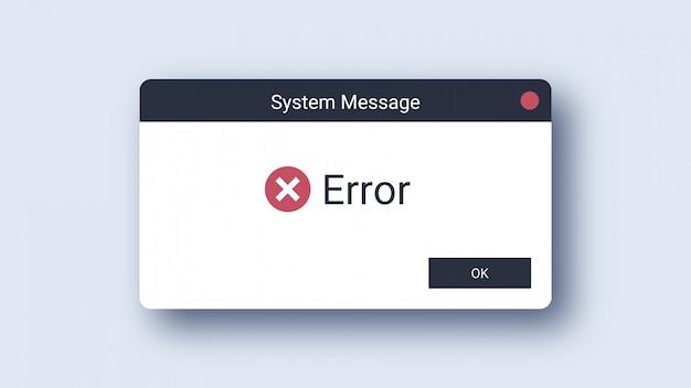 Avviso di errore del sistema operativo windows