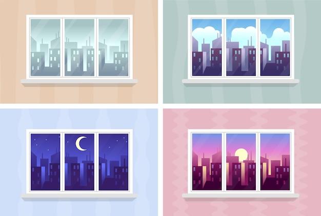 Viste della finestra. paesaggio urbano di mattina, giorno e notte, edifici della città attraverso l'appartamento di finestre di casa, edifici e grattacieli in varie ore, paesaggio urbano moderno, illustrazioni vettoriali piatte dei cartoni animati