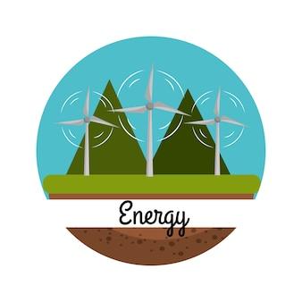 Energia eolica con una bella montagna per la cura dell'ambiente