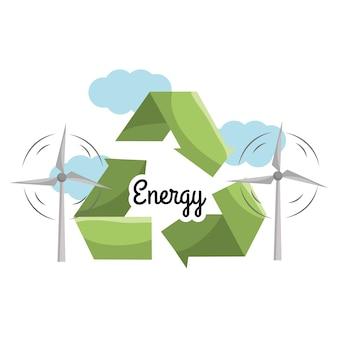 Energia eolica con il simbolo di riduzione, riutilizzo e riciclaggio
