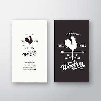 Logo vettoriale astratto gallo a vento e modello di biglietto da visita