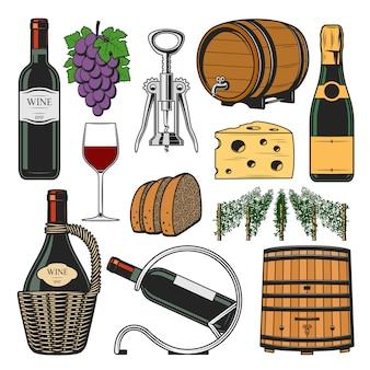 Accessori per il vino, bottiglia per la vinificazione e botte