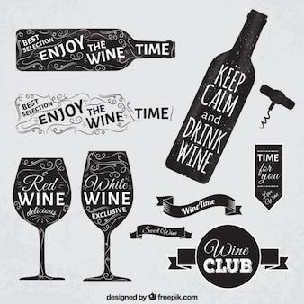 Distintivi di vino in stile lavagna Vettore Premium