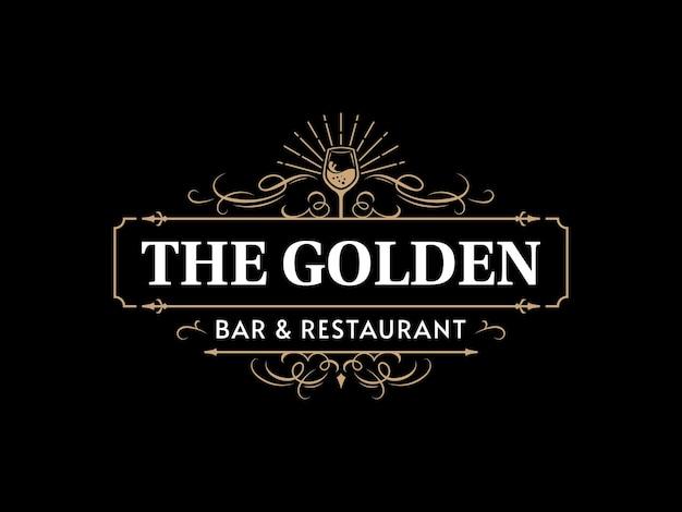 Logo tipografia vintage ornato di wine bar e ristorante con cornice decorativa ornamentale fiorita