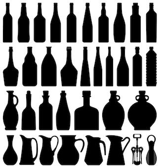 Bottiglia di birra di vino. una serie di bottiglie di birra vino in silhouette.