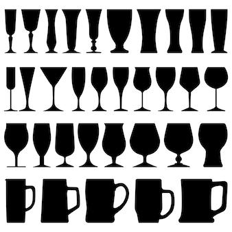 Bicchiere da birra in vetro. una serie di bicchieri di vetro di birra vino in silhouette.