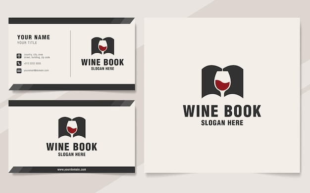 Modello di logo del libro di vino sullo stile del monogramma