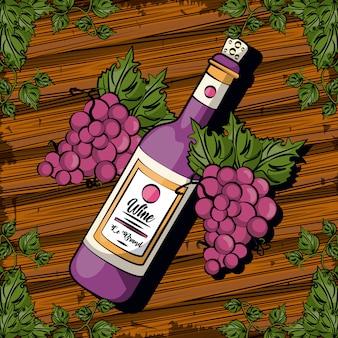 Bevanda della bottiglia di vino con progettazione dell'illustrazione di vettore di frutti dell'uva