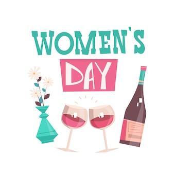 Bottiglia di vino e bicchieri womens day 8 marzo festa celebrazione banner flyer o biglietto di auguri illustrazione