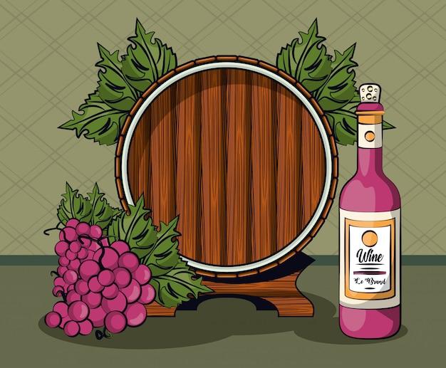 Bottiglia di vino e frutta dell'uva con il disegno dell'illustrazione di vettore del barilotto