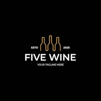 Modello di arte della linea del logo della bottiglia di vino