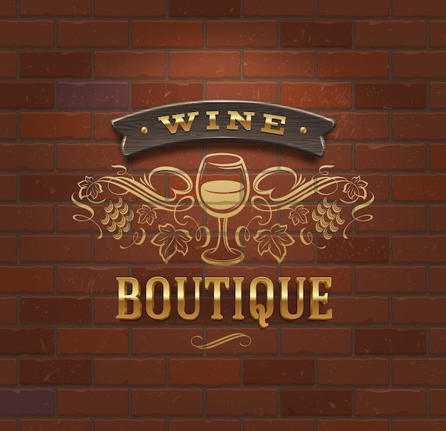 Boutique del vino - insegna d'annata sul muro di mattoni - illustrazione