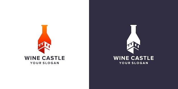 Modello di logo del castello di vino