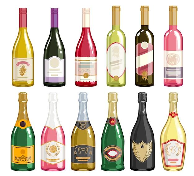 Set di icone di bottiglie di vino e champagne.