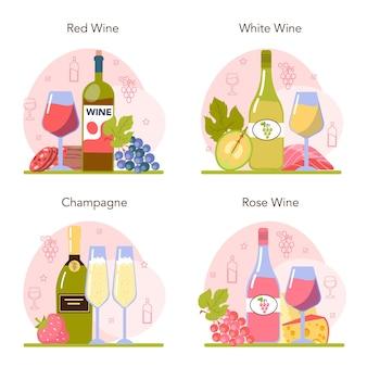 Insieme di concetto di vino. vino d'uva in una bottiglia e un bicchiere pieno di bevanda alcolica. champagne, vino rosso, bianco e rosato con antipasto. formaggio, salsiccia, pesce e fragola. illustrazione vettoriale piatta