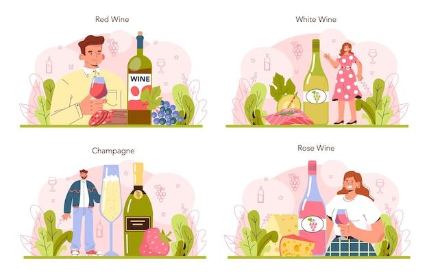 Il concetto di vino ha messo il vino d'uva in una bottiglia e un bicchiere pieno di bevanda alcolica
