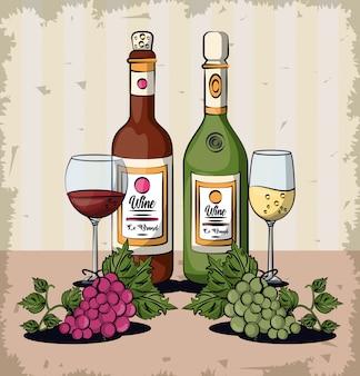 Tazze e bottiglie di vino con progettazione dell'illustrazione di vettore di frutti dell'uva