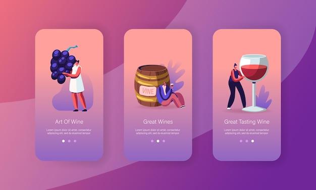 Set di schermate a bordo della pagina dell'app per dispositivi mobili di degustazione di vino.
