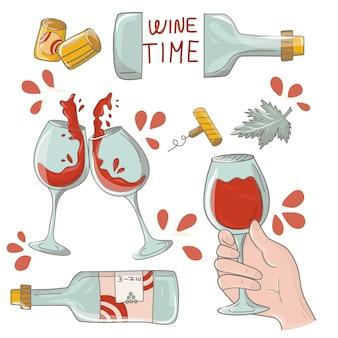 Elementi di design del vino bicchiere di vino, bottiglia di vino, cavatappi, sughero. set vino