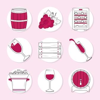 Set di icone degli elementi del vino