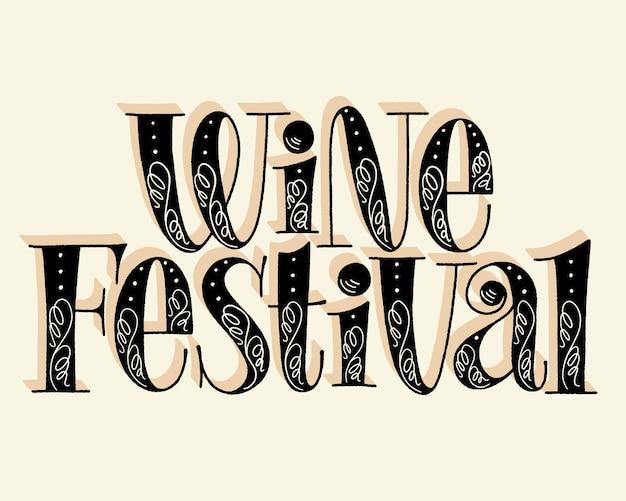 Testo dell'iscrizione della mano di festival del vino per il festival del vigneto della cantina del ristorante
