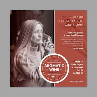 Modello di volantino del vino con foto