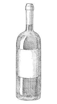 Bottiglia in vetro di vino con etichetta trasparente. illustrazione monocromatica da cova vintage.