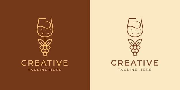 Bicchiere da vino logo design template illustrazione vettoriale di bicchiere da vino con uva frutta vintage modern icon line design Vettore Premium