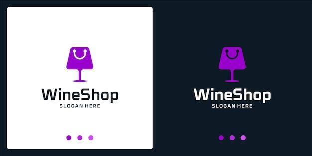 Ispirazione del logo del bicchiere di vino e logo della borsa della spesa. vettore premio.