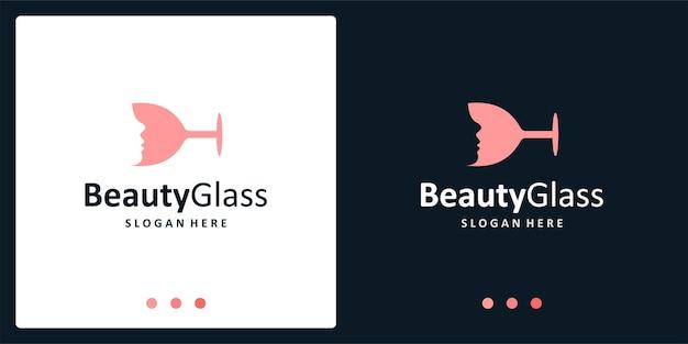 Ispirazione al logo del bicchiere di vino e logo del viso femminile. vettore premio.