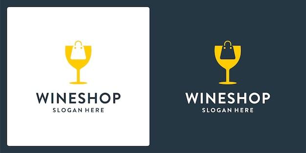 Ispirazione della forma del logo del bicchiere da vino e logo della borsa della spesa. vettore premium