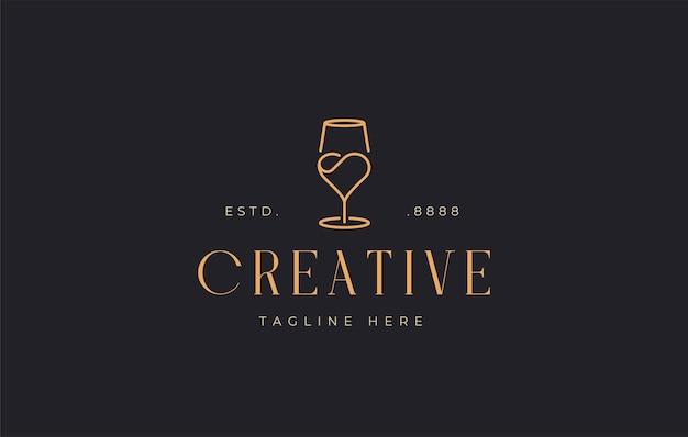 Modello di icona del design del logo di amore del bicchiere di vino