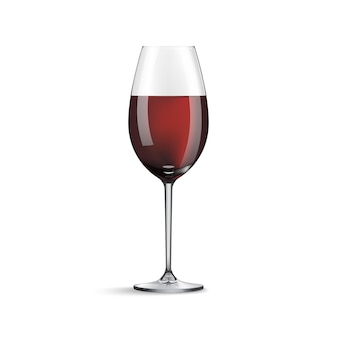 Bicchiere di vino con vino isolato su bianco