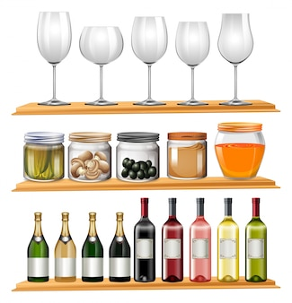 Bicchieri da vino e cibo sugli scaffali in legno