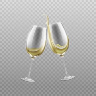 Bicchieri di vino con schizzi di vino bianco