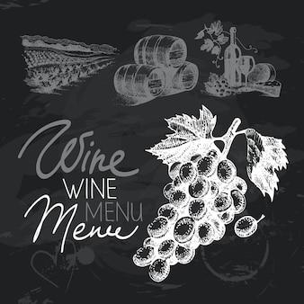 Insieme di progettazione della lavagna disegnata a mano del vino. texture gesso nero
