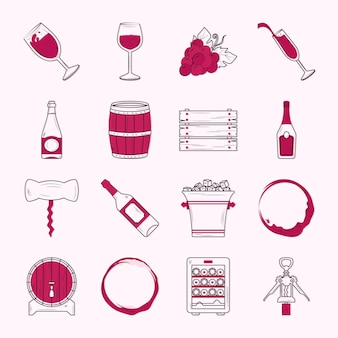 Collezione di icone del vino sullo sfondo