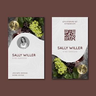 Modello di carta d'identità del vino