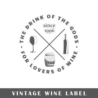 Etichetta del vino isolata su sfondo bianco